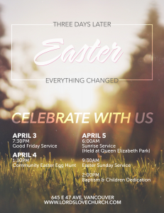 Easter Weekend - Celebrate With Us!