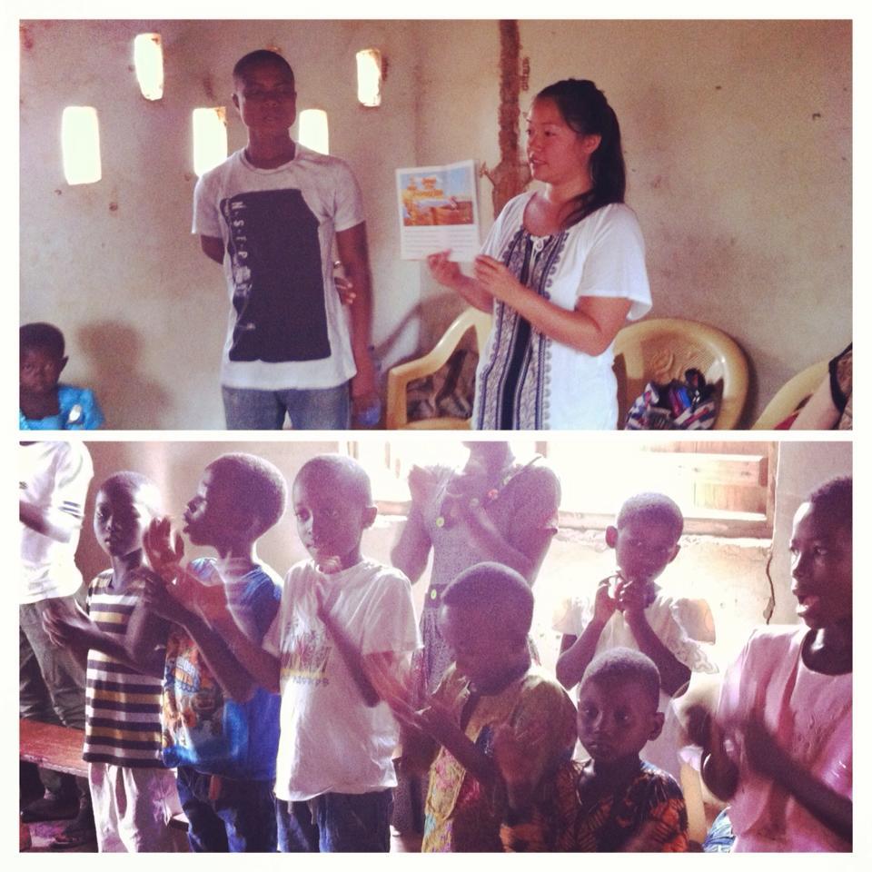 Caitlin shares at Sunday School at Kpandai Central ECG Church - July 2015